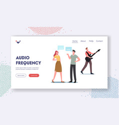 Audio sound frequency wave landing page template vector