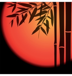 Bamboo trees and leaves with red sun on black vector