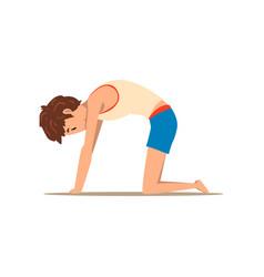 Boy in cat yoga pose marjaryasana rehabilitation vector