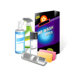 Car wash bottle product on white background vector