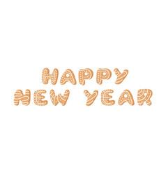 cartoon ginger bread cookies word happy new year vector image