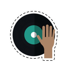 cartoon hand dj playing vinyl vector image