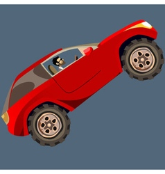 cartoon man in a red SUV drives up vector image