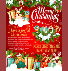 Christmas and new year banner with santa gift vector