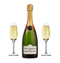 christmas bottle of champagne and two glasses vector image