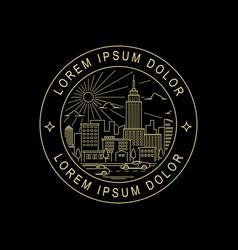 city line art style stamp design vector image
