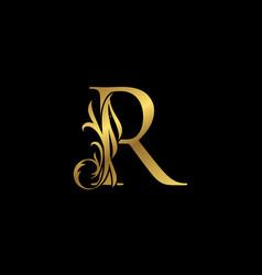 Classy elegant gold r letter floral logo vintage vector