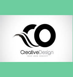 Co c o creative brush black letters design with vector