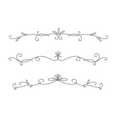 collection hand drawn decorative calligraphic vector image