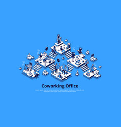 coworking office isometric landing page teamwork vector image