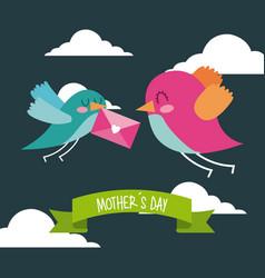 cute birds flying with envelope in beak mothers vector image