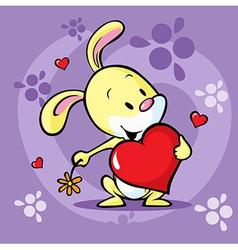 Cute bunny hold heart - cartoon vector