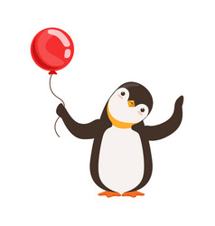 Cute doodle penguin character is holding a red vector