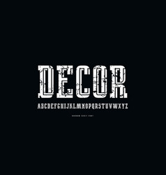 decorative serif font with interweaving stripes vector image