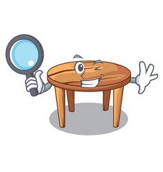 Detective cartoon round wooden table in cafe vector