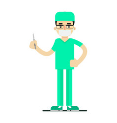 Doctor in medical uniform with scalpel vector