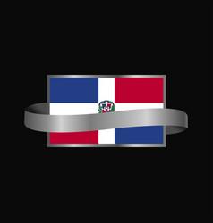 Dominican republic flag ribbon banner design vector