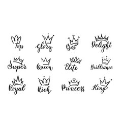 doodle crowns lettering crown with text elements vector image