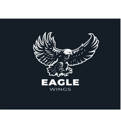 eagle or hawk with outstretched wings vector image