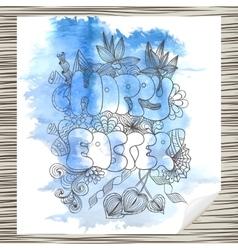 Easter retro hand drawn design card vector