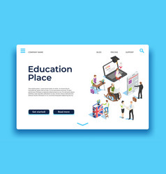 Education landing page isometric people learning vector