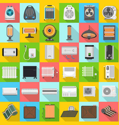 electric heater icon set flat style vector image