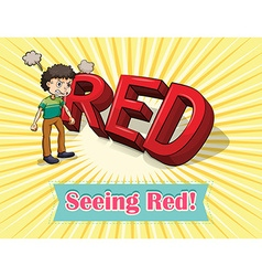 English idiom seeing red vector
