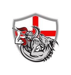 English Knight Fighting Dragon England Flag Shield vector image