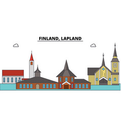 Finland lapland city skyline architecture vector