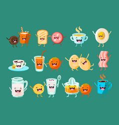 Funny breakfast food comic characters sett food vector