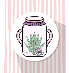 Garden mason jar cartoon vector