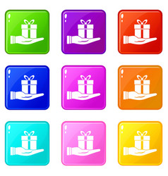 gift box in hand set 9 vector image