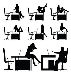 Girl in the workplace posing on table silhouette vector