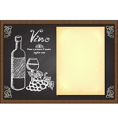 Hand drawn wine menu on chalkboard vector