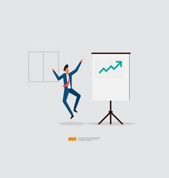 Happy businessman jumps because increase sales vector