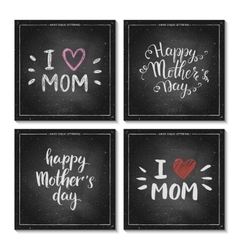 Happy Mothers Day lettering on chalkboard vector