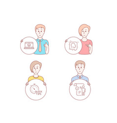 head quick tips and website education icons vector image