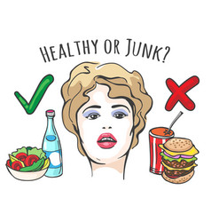Healthy and junk food concept vector
