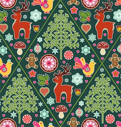 holiday icons seamless pattern vector image