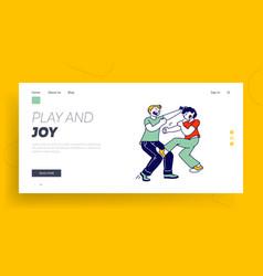 hyperactive children fighting website landing page vector image