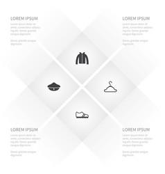 Icon garment set of sailor coat rack hoodie and vector