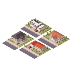 isometric houses set vector image