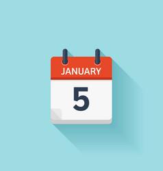 January 5 flat daily calendar icon Date vector