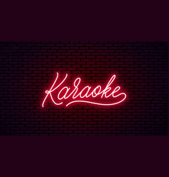 Karaoke neon hand drawn lettering vector