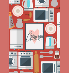 kitchenware seamless pattern household vector image