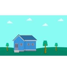 Landscape of house on hill vector