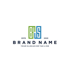 Letter bhs square logo design vector