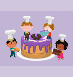little chef and big cake vector image