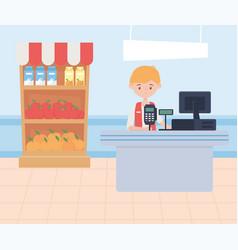 Man cashier supermarket shelf food excess purchase vector