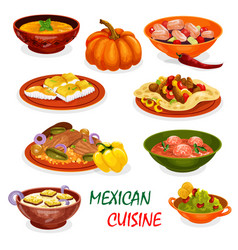 Mexican cuisine icon of dinner dish and appetizers vector